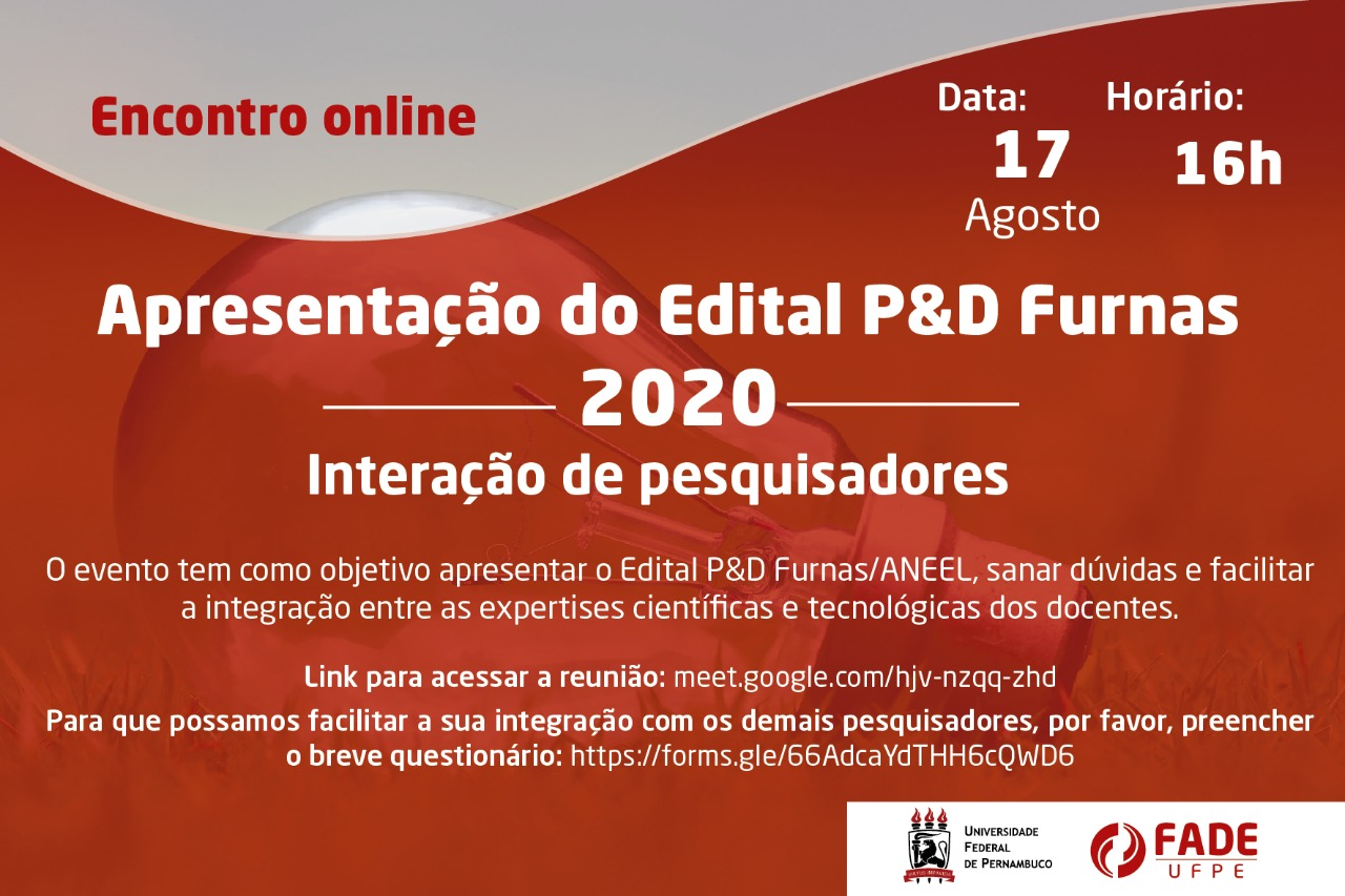 Fade-UFPE e Propesq articulam apresentação e debate acerca do Edital Furnas/ANEEL